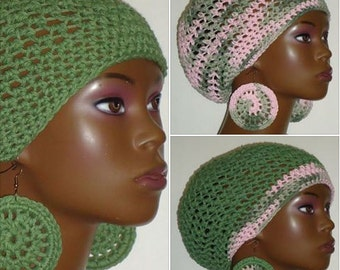 100% Cotton Assorted Patterns Crochet Beret Tam and Earrings by Razonda Lee Razondalee