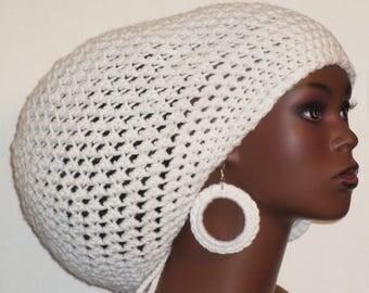 White Large Crochet Tam Hat with Drawstring and Earrings Dreadlocks by Razonda Lee Razondalee