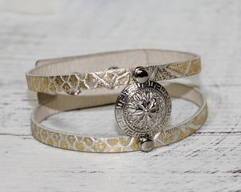 Metallic Gold and  Silver Leather  Bracelet, Snakeskin Leather Cuff