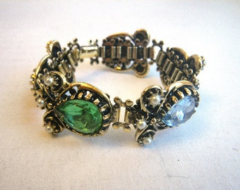 Multicolor Crystal Teardrop Bracelet - Small - Heavy Glass Ornate Faux Pearls Gold Tone 1950s 1960s