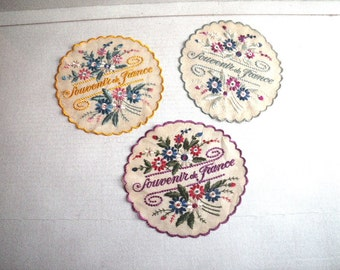 Three Souvenir de France Embroidered Round Doilies WWI WWII