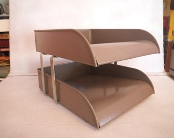 High Quality Two Tier Steel Desk File Organizer Steelmaster Streamliner Mad Men Retro  Office Decor