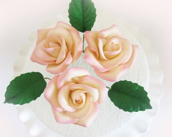 edible sugar roses set of 3 ivory and pink