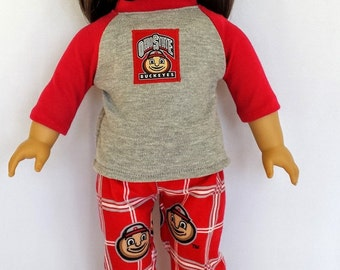 """18"""" American Doll Ohio State Pajamas, 2 pc. Made in USA"""