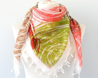 Geometric pattern beaded scarf summer scarves for women fringe square scarf mothers day gift for her boho scarf bohemian outfit multicolor