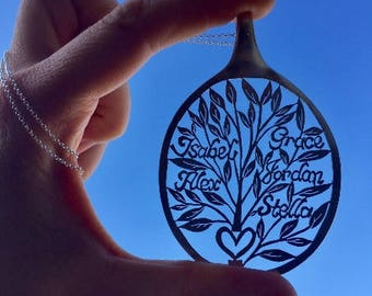Customized Personalized Statement Necklace, Personalized Family Tree of Life Monogram Pendant, Unique Large Statement Tree Spoon Pendants