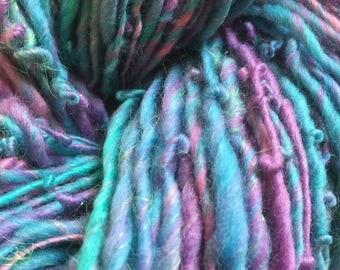 Handspun Art yarn hand spun  hand dyed bulky knitting supplies crochet supplies Waldorf doll hair wool merino newborn baby photo p