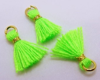 Mini Cotton Jewelry Tassels with Gold Binding and Gold Plated Jump Ring - Neon Green - 3 pcs - Approx 10mm - MT7