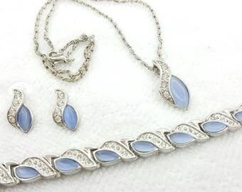 Sky Blue Navette in Silver tone Bracelet Pierced earrings and pendant set