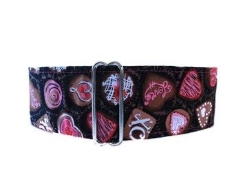Valentine Martingale Collar, 2 Inch Martingale Collar, Valentine Chocolate, Greyhound Martingale Collar, Valentine Dog Collar, Valentines