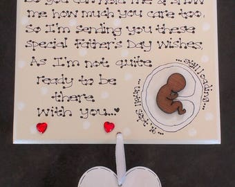 Personalised New Baby Daddy To Be Poem Pregnant Bump Fathers Day Gift Plaque D1 *Exclusive to Kaz Kraft Uk*