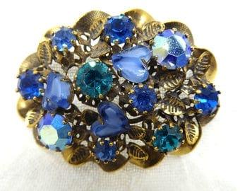 Vintage Blue Heart Art Glass & Rhinestone Made Austria Brooch