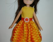 """Handmade 7"""" doll clothes for Lottie - yellow and orange print dress"""