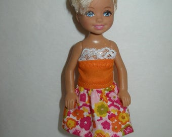 Handmade Chelsea clothes - orange and pink floral dress