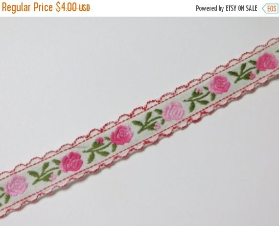 ON SALE Vintage Pretty Woven Rosebud ribbon trim-2 yards-Pink-Sewing-Embellishment