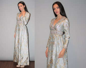 Vintage 1960s Ice Blue and Gold Metallic Beaded Deep V Neck Long Gown-  60s Metallic Wedding Dress  -  Vintage 60s Long Dress  - W00188