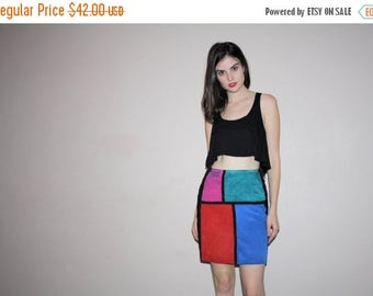 40% Limited time SALE  - vetements Colorblock Mondrian Graphic Rainbow Hip Hop Rainbow Abstract Suede Mini Short  Skirt  - W00546