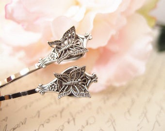 Art deco butterfly bobby pins-medieval-shabby chic-steampunk-Victorian V049