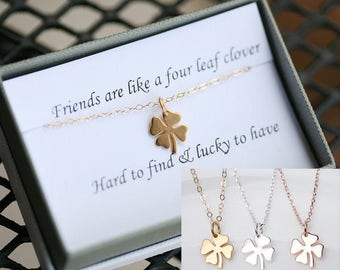 Four leaf clover necklace,shamrock necklace,lucky charm shamrock necklace,,Best friend gift,St Patricks Day gift,sisterhood,birthday gift