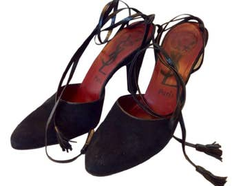 Vintage Yves Saint Laurent Wrap Around Strappy Shoes in Black Suede