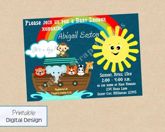 Noah's Ark Baby Shower Invitation Style DI2173 DIGITAL FILE - Printable