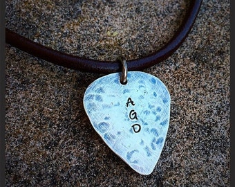 10 dollars off: Hand-finished Solid Sterling Guitar Pick Necklace