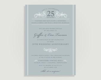 Silver 25th Wedding Anniversary Invitation - Personalized Printable File or Print Package Available - Scroll Anniversary #00005-PIA7