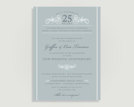 25th Wedding Invitations: Silver 25th Wedding Anniversary Invitation Personalized