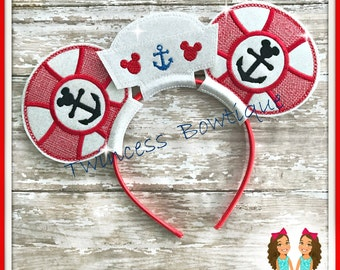 Sailor Hat Lifesaver Mouse Ears Headband by Twincess Bowtique - CUSTOM