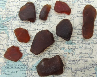 Brown Sea Glass Selkie Tears Mermaids Tears Irish Sea Glass Sea Tumbled Glass Pieces Collected in Ireland