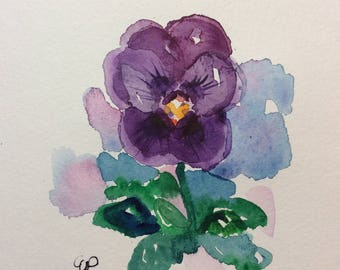 Purple Pansy Watercolor Card / Hand Painted Watercolor Card