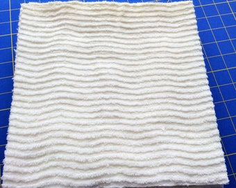Chenille Wavy White 10 inch squares, Precut Fabric Squares - Total of 16 squares, Rotary Cut From VINTAGE Bedspread, Clean, Ready To Use