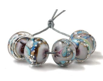 Silvered Lampwork Glass Beads | Lilac Mauve and Blue Glass Bead Set | Pastel and Silver Beads | UK SRA | Artisan beads