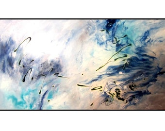 Deep Blue and Aqua Fluid Movement. Modern Art Painting. Original Abstract Painting on Stretched Canvas. Unique Modern Home Decor. Wall Art.