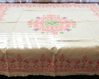 "Antique tablecloth, 51"" square, Hand embroidered,Monogrammed,Shabby cottage"