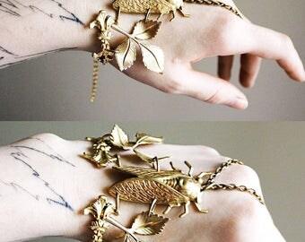Cicada bracelet boho cuff