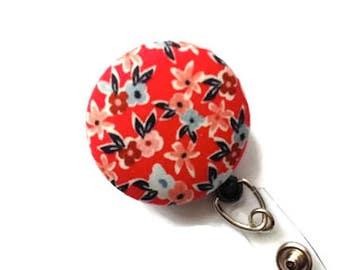 Nurses Badge Reel Retractable ID Badge Name Badge Holder Retractable Lanyard Badge Reel Swivel Badge Clip Floral Red Coral Blue