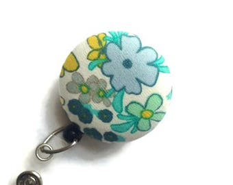 Floral ID Badge Reel/Retractable Badge Reel/ID Badge Holder/Nurse Gift/Teacher Gift/Badge Reels/Cream Blue ID Badge Reel