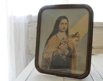 "SALE- Rare Antique Religious Icon ""ST. Teresa Little Flower of Jesus"" Ornate Framed Wall Painting, Roman Catholic Church, 1900s Church Art"