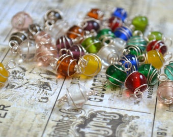 50pcs Glass Beads Mixed Colors 8mm Round Wire Wrapped Links