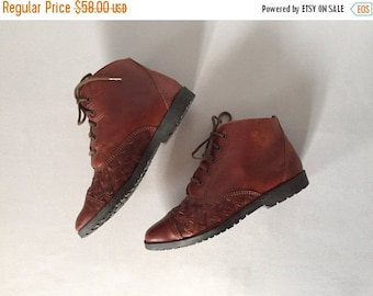 30% OFF SALE... chestnut leather woven ankle boots | lace up boots | 5.5 | 6