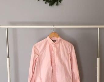 Bloomingdales cotton shirt | blush pink pleated front shirt