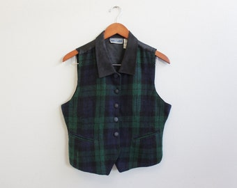 Vintage Plaid Green, Blue and Black Vest by Erika Classics