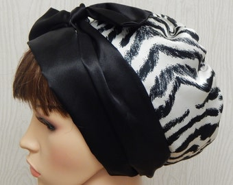 Black and white satin head scarf, silky head covering, Jewish tichel, satin sleeping cap, women's bad hair day head wrap