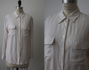 Vintage SILK White Blouse Shirt Chest Pockets Classic Oxford Button Down S