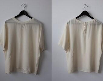 Vtg Ivory SILK Loose Fit Oversized Boxy T-Shirt Blouse Top L-XL