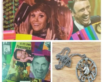 Vintage Necklace and Greeting Card Rowan & Martin's Laugh In 60's Fashion Jewelry, Ephemera, Collectible Sock It To Me Goldie Hawn