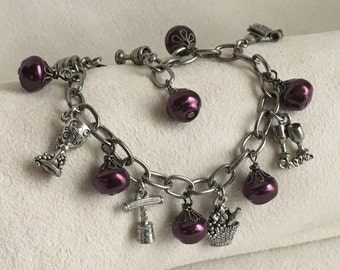 Wine Charm Bracelet with Grape Purple Glass Pearls