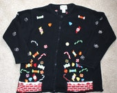 50% OFF SALE Ugly CHRisTMAS Sweater . Vintage Black Holiday Tacky Cardigan . Candy Canes . Candy . Embroidery . Size Extra Large
