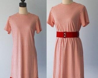 50% OFF SALE 1960s Mod Shift Dress . Vintage Retro 60s Red Polka Dot Dress . Floral Design Hem . Size Medium Large